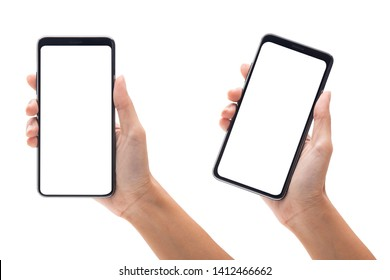 Set of woman hand holding the black smartphone with blank screen isolated on white background with clipping path.