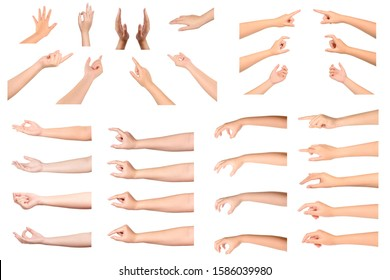 Set of Woman hands gesturing isolated on white background.