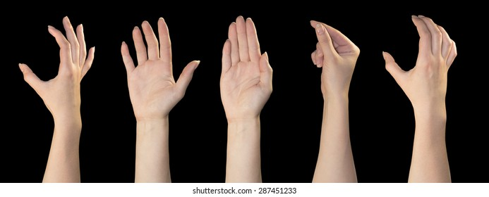 Set of woman hands on black backgrounds.