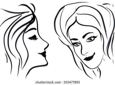 Line Drawing Face Woman : Outline side profile human male head stock illustration