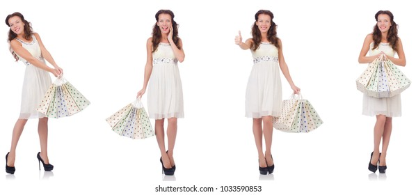 Set of woman with shopping bags on white