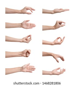 Set of woman showing different gestures on white background, closeup view of hands