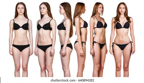 Set of woman's body from all angles