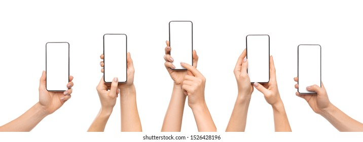 Set of woman's hands using smartphone with blank screen, isolated on white background, panorama - Shutterstock ID 1526428196