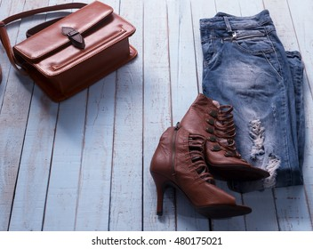 Set of women clothes in warm color and various accessories -classic soft focus image,vintage,pastel