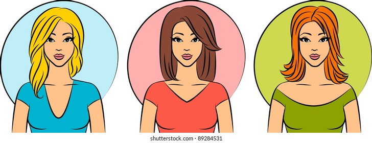 Set of women with hairstyle.