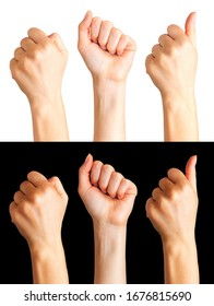 Set of women hands showing gesture isolated on a white and black background