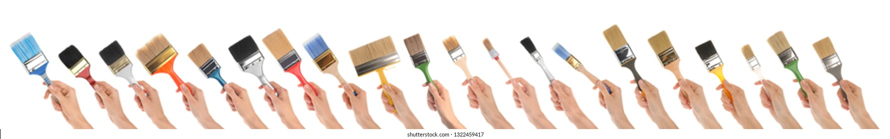 Set of women holding different clean paint brushes on white background, closeup