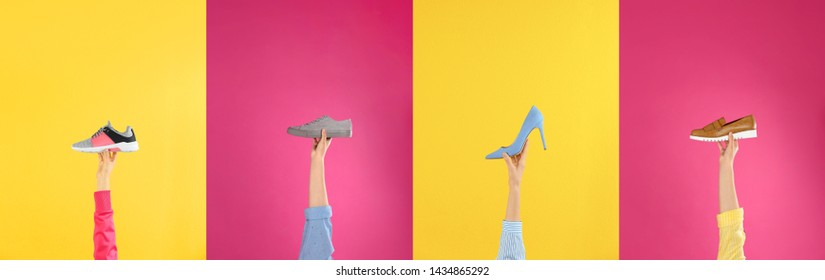 Set of women holding different stylish shoes on color background, closeup