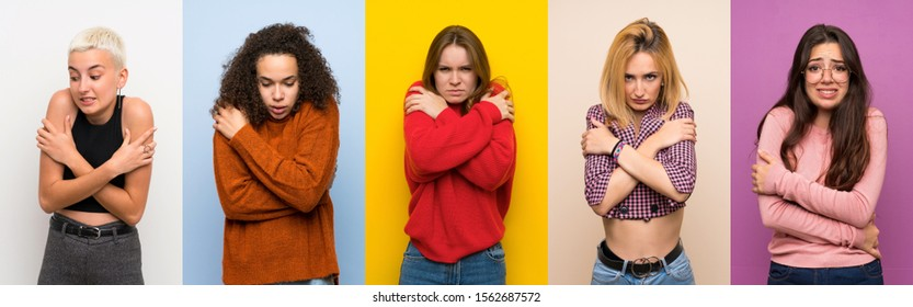 Set of women over colorful backgrounds freezing - Shutterstock ID 1562687572