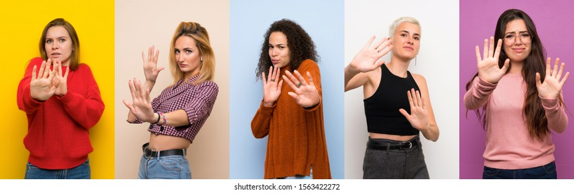 Set of women over colorful backgrounds nervous stretching hands to the front