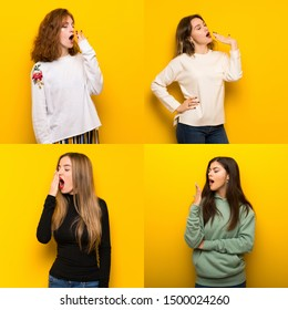 Set of women over Yellow background yawning and covering wide open mouth with hand