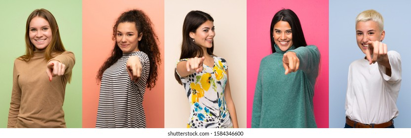 Set of women points finger at you with a confident expression - Shutterstock ID 1584346600