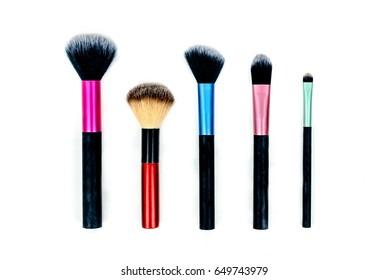 Set Women's makeup tool brush, on white background