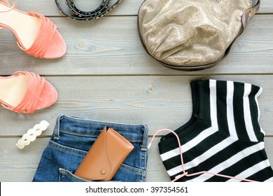 set women's things. Clothing jeans style and elegant shoes.