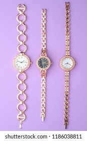 set of women's wrist watches isolated