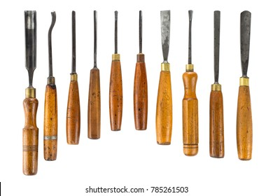 Set of wood chisel for carving wood, sculpture tools on white