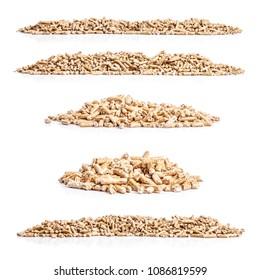 Set of wood pellets on white background