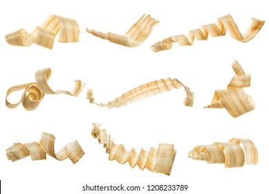 Set wood shavings isolated on white background, including clipping path