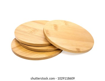 Set of wooden beverage coaster isolated on white background. Abstract Wood pad for put your mug. ( Clipping path )