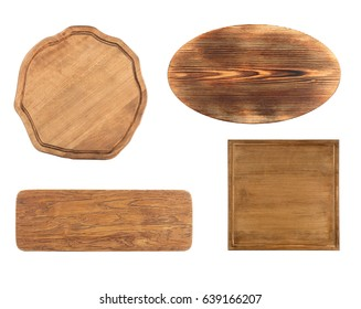 Set of wooden boards on white background