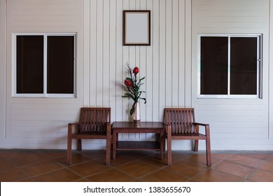 Set of wooden chairs in living room for relax for relax