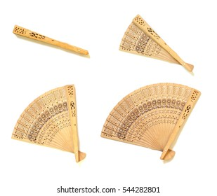 set of wooden chinese hand fan isolated on white background