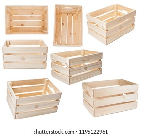 Set of wooden crates isolated on white background