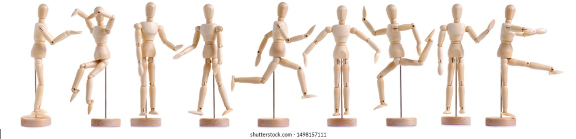 Set wooden figure a man on white background isolation