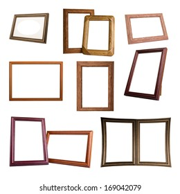 the set of wooden frames isolated on white background