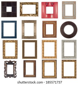 Set of wooden frames isolated on white background.