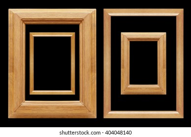 set of  wooden  frames on black background