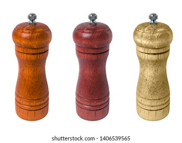 Set of wooden pepper mills on a white background. isolate Wood mills for peper. Different color of the tree. Mill for salt or peper.