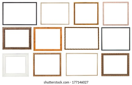 set wooden picture frame with cut out canvas isolated on white background