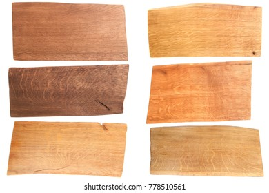 Set of wooden plank isolated on white background. Collection different color oak planks.
