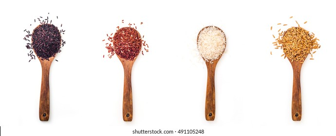 Set of wooden spoons with different style of Rice of Thailand on white background