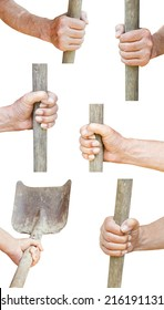 set of worker hand holds old shovel isolated on white background