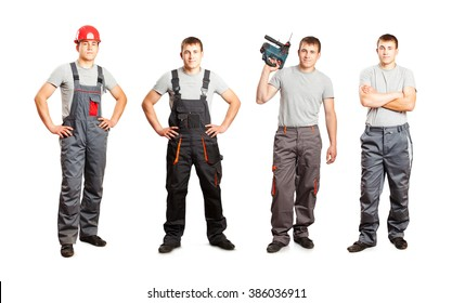 Set of worker mans in overalls isolated on white background
