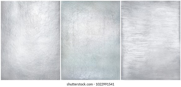 Set worn metal plate steel background. Texture silver foil.