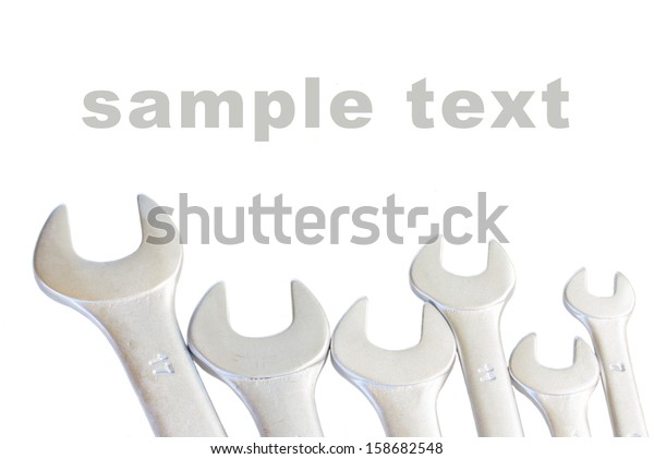 Set Wrenches Border Isolated On White Stock Photo (Edit ...