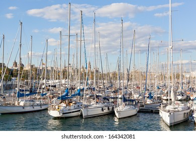 Set of yachts in a marine in the port of Barcelona, Spain