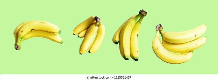 A set of yellow bananas isolated with many side, banana bunch with clipping path in pastel green background, topical fresh fruit isolated, no shadow