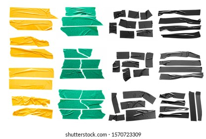 Set of yellow, green, black tapes on white background. Torn horizontal and different size sticky tape, adhesive pieces.