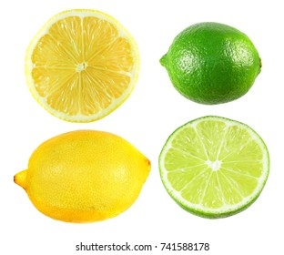 Set of yellow lemon and green lime isolated on white background