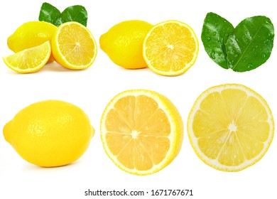 Set of yellow lemon isolated on white background, there are clipping path on some of them.