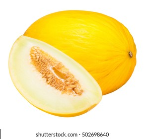 Set of yellow melon isolated on white background  with clipping path