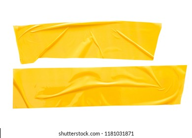 Set of yellow tapes on white background. Torn horizontal and different size yellow sticky tape, adhesive pieces.