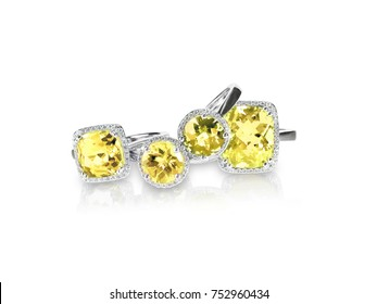 Set of yellow topaz citrine rings gemstone fine jewelry. Group stack or cluster of multiple gemstone diamond rings.