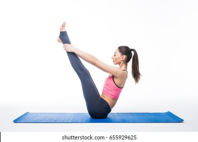 Set of yoga poses by slim woman, isolated on white