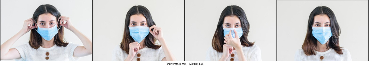 set of young  beautiful asian woman showing how to wear a medical mask or  showing how to correctly wear hygiene surgical mask step by step on white background